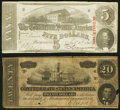 Confederate Notes:1863 Issues, T60 $5 1863 Very Fine;. T67 $20 1864 Fine-Very Fine.. ... (Total: 2 notes)