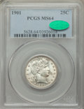 Barber Quarters, 1901 25C MS64 PCGS. CAC. PCGS Population: (70/51). NGC Census: (65/24). CDN: $425 Whsle. Bid for NGC/PCGS MS64. Mintage 8,8...