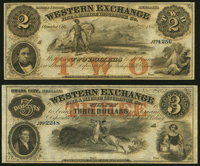 Omaha City, NE- Western Exchange Fire & Marine Insurance Co. $2; $3 Nov. 2, 1857 Remainders About Uncirculated or Be...