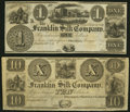 Obsoletes By State:Ohio, Franklin, OH- Franklin Silk Company $1; $10 18__ Remainders Choice About Uncirculated or Better.. ... (Total: 2 notes)