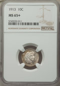 Barber Dimes: , 1913 10C MS65+ NGC. NGC Census: (80/20 and 2/0+). PCGS Population: (98/40 and 2/23+). MS65. Mintage 19,760,622. ...