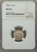 Three Cent Nickels: , 1868 3CN MS65 NGC. NGC Census: (58/20). PCGS Population: (87/50). CDN: $425 Whsle. Bid for NGC/PCGS MS65. Mintage 3,252,000...