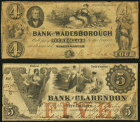 Fayetteville, NC- Bank of Clarendon $4 Mar. 14, 1859 Very Fine; Wadesborough, NC- Bank of Wadesborough $5 Nov. 1, 1... (...