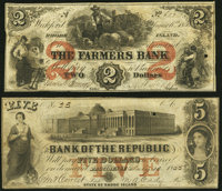 Providence, RI- Bank of the Republic $5 July 10, 1855 Fine-Very Fine; Wickford, RI- Farmers Bank $2 Aug. 6, 1855 ... (To...