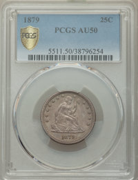 1879 25C AU50 PCGS. PCGS Population: (6/244 and 0/14+). NGC Census: (4/191 and 0/3+). CDN: $450 Whsle. Bid for NGC/PCGS...