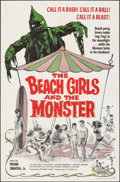 "Movie Posters:Horror, The Beach Girls and the Monster (U.S. Films Inc., 1965). Folded, Very Fine. One Sheet (27"" X 41"") & Cut Pressbook (6 Pages, ... (Total: 2 Items)"