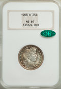 Barber Quarters: , 1908-D 25C MS64 NGC. CAC. NGC Census: (49/25). PCGS Population: (60/38). MS64. Mintage 5,788,000. ...