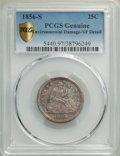 Seated Quarters: , 1856-S 25C -- Environmental Damage -- PCGS Genuine. XF Details. Mintage 286,000. ...