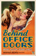 "Movie Posters:Romance, Behind Office Doors (RKO, 1931). Folded, Very Fine-. One Sheet (27"" X 41""). From the Mike Kaplan Collection. . ..."
