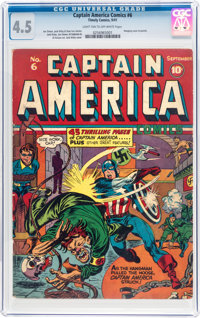 Captain America Comics #6 (Timely, 1941) CGC VG+ 4.5 Light tan to off-white pages