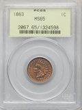 1863 1C MS65 PCGS. PCGS Population: (318/68). NGC Census: (225/24). MS65. Mintage 49,840,000. From The Triplets Colle...