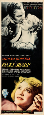 """Becky Sharp (RKO, 1935). Very Fine-. Insert (14"""" X 36""""). From the Mike Kaplan Collection"""