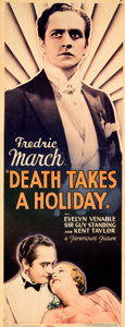 "Movie Posters:Horror, Death Takes a Holiday (Paramount, 1934). Very Fine. Insert (14"" X 36""). From the Mike Kaplan Collection.. ..."