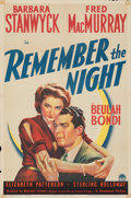 "Movie Posters:Comedy, Remember the Night (Paramount, 1940). Fine/Very Fine on Paper. One Sheet (27"" X 41""). From the Mike Kaplan Collection. ..."