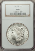 Morgan Dollars: , 1883-CC $1 MS65 NGC. NGC Census: (4438/1155). PCGS Population: (9080/2713). CDN: $315 Whsle. Bid for problem-free NGC/PCGS ...