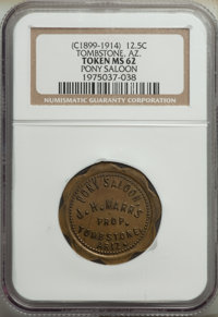 (circa 1899-1914) Pony Saloon '12 1/2C' Token, Tombstone, Arizona, MS62 NGC