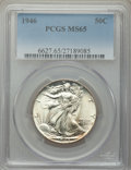 Walking Liberty Half Dollars: , 1946 50C MS65 PCGS. PCGS Population: (4261/1223). NGC Census: (2352/651). CDN: $75 Whsle. Bid for NGC/PCGS MS65. Mintage 12...