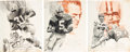 Football Collectibles:Others, 1974 Green Bay Packers Original Oversized Drawings Lot of 3 - Displayed in Bob Hyland's Bar. ...