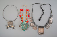 Three North Indian and Himalayan Ceremonial Necklaces 9 x 8 inches (22.9 x 20.3 cm) (longest)