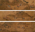 Paintings, After Zhao Mengfu (Chinese, 1254-1322) . Hunting Procession of Emperor Kublai Khan, after 14th century. Handscroll, ink ...