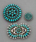 American Indian Art:Jewelry and Silverwork, Three Navajo / Zuni Cluster Pins... (Total: 3 )