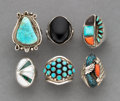 American Indian Art:Jewelry and Silverwork, Six Southwest Rings c. silver, turquois...