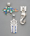 American Indian Art:Jewelry and Silverwork, Three Southwest Figural Pendants... (Total: 3 )