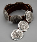 American Indian Art:Jewelry and Silverwork, A Navajo Silver Concho Belt Richard Bicenti...