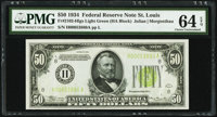 Fr. 2102-H $50 1934 Light Green Seal Federal Reserve Note. PMG Choice Uncirculated 64 EPQ
