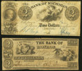 Obsoletes By State:Michigan, Detroit, MI- Bank of Michigan $2 Sep. 1, 1830 Fine-Very Fine;. Monroe, MI- Bank of Monroe $2 Oct. 6, 1835 Fine.... (Total: 2 notes)