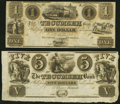 Obsoletes By State:Michigan, Tecumseh, MI- Tecumseh Bank $1; $5 18__ Remainders About Uncirculated or Better.. ... (Total: 2 notes)