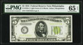 Small Size:Federal Reserve Notes, Fr. 1955-C $5 1934 Light Green Seal Federal Reserve Note. PMG Gem Uncirculated 65 EPQ.. ...