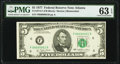 Small Size:Federal Reserve Notes, Low Serial Number 61 Fr. 1974-F $5 1977 Federal Reserve Note. PMG Choice Uncirculated 63 EPQ.. ...