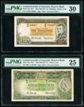 Australia Commonwealth Bank of Australia 10 Shillings; 1 Pound ND (1961-65) Pick 33a; 34a R17; R34 Two Examples PM