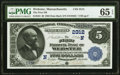 National Bank Notes:Massachusetts, Webster, MA - $5 1882 Date Back Fr. 534 The First National Bank Ch. # (N)2312 PMG Gem Uncirculated 65 EPQ.. ...