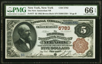 New York, NY - $5 1882 Brown Back Fr. 477 The New Amsterdam National Bank Ch. # 5783 PMG Gem Uncirculated 66 EPQ