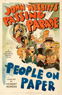 """People on Paper (MGM, 1945). Folded, Fine/Very Fine. One Sheet (27"""" X 41""""). From the Mike Kaplan Collection..."""