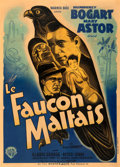 "Movie Posters:Film Noir, The Maltese Falcon (Warner Bros., 1941). Fine+ on Linen. First Post-War Release French Grande (45"" X 62.75""). From the Mik..."