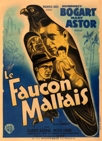 "The Maltese Falcon (Warner Bros., 1941). Fine+ on Linen. First Post-War Release French Grande (45"" X 62.75"")..."