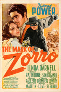 "Movie Posters:Swashbuckler, The Mark of Zorro (20th Century Fox, 1940). Fine/Very Fine on Linen. One Sheet (27"" X 41"") Style A. From the Mike Kaplan C..."