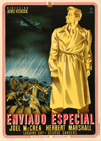 """Foreign Correspondent (Ballesteros, 1944). Very Fine+ on Linen. First Release Spanish One Sheet (28.25"""" X 39.5""""..."""