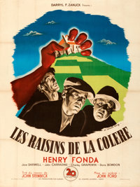 """The Grapes of Wrath (20th Century Fox, 1947). Fine+ on Linen. First Post-War Release French Grande (46.25"""" X 62&quo..."""