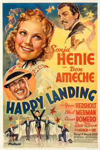 """Happy Landing (20th Century Fox, 1938). Fine+ on Linen. One Sheet (27"""" X 41""""). Style B. From the Mike Kaplan C..."""