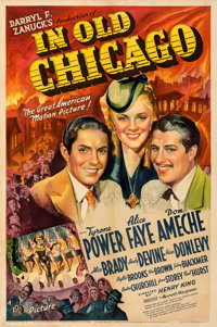 "In Old Chicago (20th Century Fox, 1937). Fine on Linen. Autographed One Sheet (27"" X 41"") Style A. Frederic C..."
