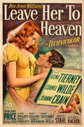 Movie Posters:Film Noir, Leave Her to Heaven (20th Century Fox, 1945). Fine+ on Lin...