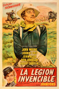"Movie Posters:Western, She Wore a Yellow Ribbon (RKO, 1951). Very Fine- on Linen. First Release Argentinean One Sheet (29"" X 44""). From the Mike ..."