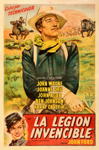 """She Wore a Yellow Ribbon (RKO, 1951). Very Fine- on Linen. First Release Argentinean One Sheet (29"""" X 44""""). Fr..."""