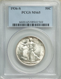 1936-S 50C MS65 PCGS. PCGS Population: (821/365). NGC Census: (460/166). CDN: $425 Whsle. Bid for NGC/PCGS MS65. Mintage...