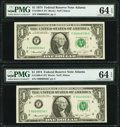 Small Size:Federal Reserve Notes, Low Serial Number 34 and 36 Fr. 1908-F $1 1974 Federal Reserve Notes. PMG Choice Uncirculated 64 EPQ.. ... (Total: 2 notes)