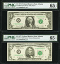 Small Size:Federal Reserve Notes, Matching Low Serial Number 45 Fr. 1908-F $1 1974 Federal Reserve Note. PMG Gem Uncirculated 65 EPQ; Fr. 1974-F $5 1977 Federal... (Total: 2 notes)